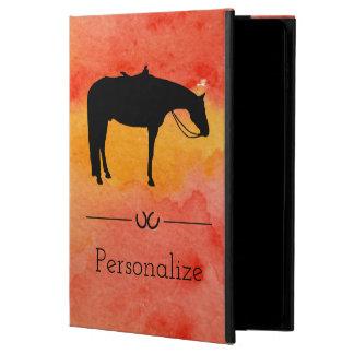 Capa Para iPad Air 2 Silhueta ocidental preta do cavalo na aguarela