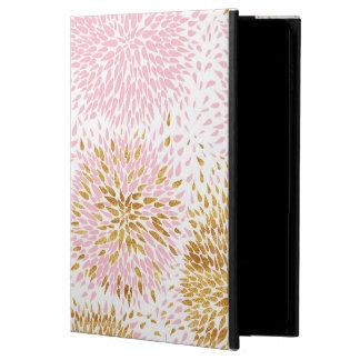 Capa Para iPad Air 2 Teste padrão floral moderno, ouro, rosa, branco,