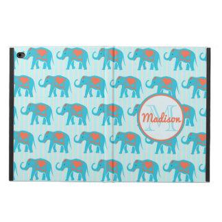 Capa Para iPad Air 2 Turquesa da cerceta, elefantes azuis, nome das