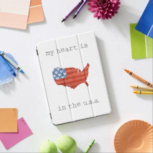 Capa Para iPad Air A americana   meu coração está no mapa dos EUA