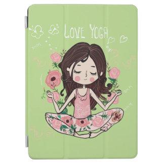 Capa Para iPad Air A menina cor-de-rosa dos rosas ama a ioga
