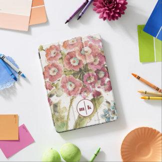 Capa Para iPad Air Adicione sua prímula cor-de-rosa do monograma  