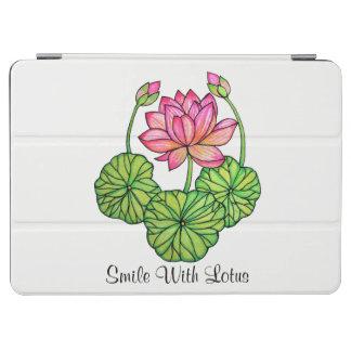 Capa Para iPad Air Aguarela Lotus cor-de-rosa com botões & folhas
