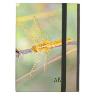 Capa Para iPad Air Amarelo e libélula colorida ouro