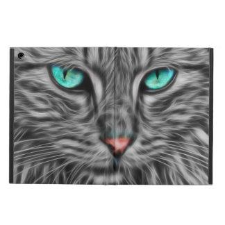 Capa Para iPad Air Arte cinzenta do Fractal do retrato do gato, caixa