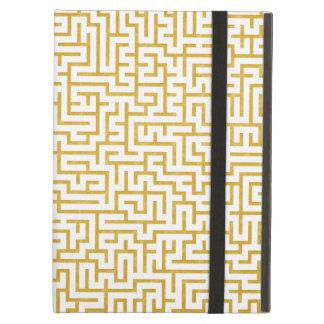 Capa Para iPad Air Arte moderna elegante do labirinto - ouro & branco