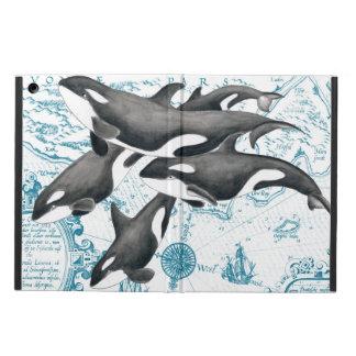Capa Para iPad Air Azul antigo da família das baleias da orca