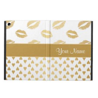Capa Para iPad Air Beijos do branco e do ouro e corações do amor