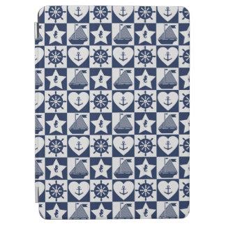 Capa Para iPad Air Branco náutico dos azuis marinhos checkered