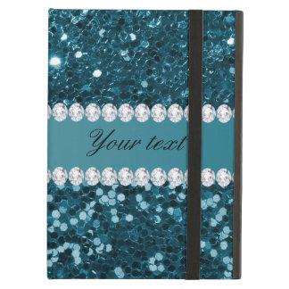 Capa Para iPad Air Brilho azul e diamantes do falso da cerceta escura