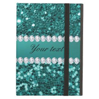Capa Para iPad Air Brilho chique e diamantes do falso da cerceta
