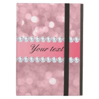Capa Para iPad Air Brilho cor-de-rosa Bokeh e diamantes
