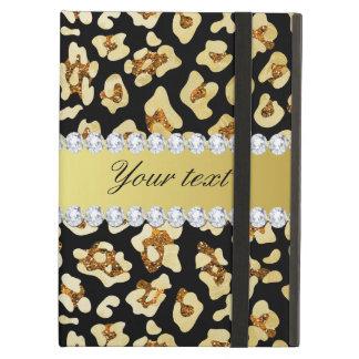 Capa Para iPad Air Brilho do ouro do falso do leopardo e preto da