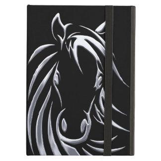 Capa Para iPad Air Cabeça de cavalo de prata no preto