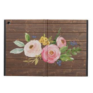 Capa Para iPad Air Caixa floral do ar do iPad rústico da madeira & da