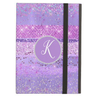 Capa Para iPad Air Caixa Monogrammed do ar do iPad do Glitz roxo