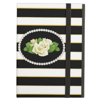 Capa Para iPad Air Caixa preta elegante de Ipad dos rosas brancos da
