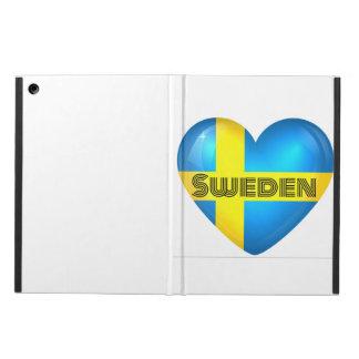 Capa Para iPad Air Carteira do iPad da bandeira do coração da suecia