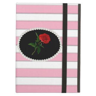Capa Para iPad Air Caso cor-de-rosa elegante de Ipad da rosa vermelha