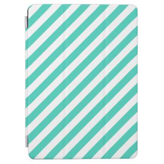 Capa Para iPad Air Cerceta e teste padrão diagonal branco das listras