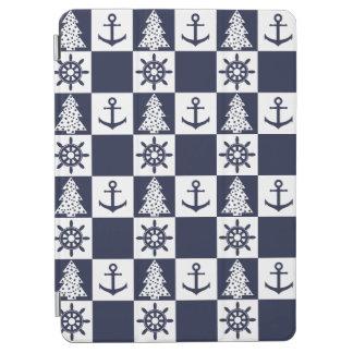 Capa Para iPad Air Checkered branco azul náutico