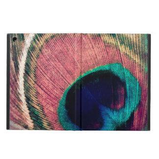 Capa Para iPad Air Chique cor-de-rosa da pena do pavão