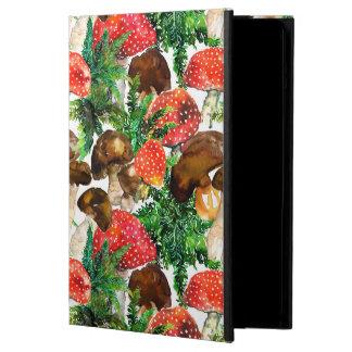 Capa Para iPad Air Cogumelos da aguarela e teste padrão verde da