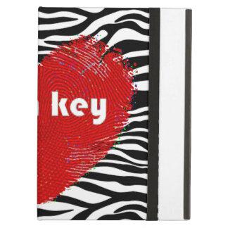 Capa Para iPad Air Coração vermelho chave alto no impressão da zebra