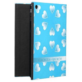 Capa Para iPad Air Corações azuis pequenos bonito. Adicione seu