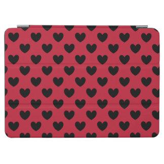 Capa Para iPad Air Corações pretos da polca no vermelho