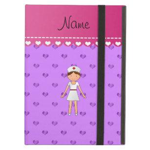 Capa Para iPad Air Corações roxos pastel personalizados da enfermeira