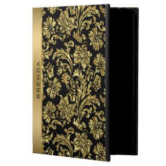 Capa Para iPad Air Damascos do ouro no monograma preto do fundo