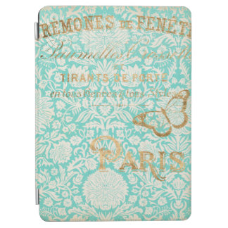 Capa Para iPad Air Design do ouro de Paris do vintage com borboleta