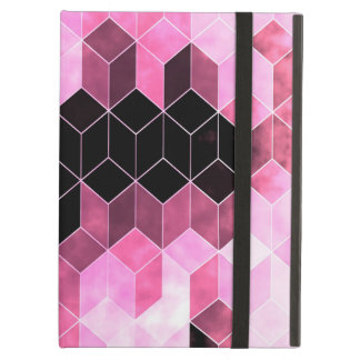Capa Para iPad Air Design geométrico cor-de-rosa & preto intenso