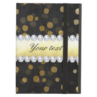 Capa Para iPad Air Diamantes pretos dos confetes do ouro do quadro