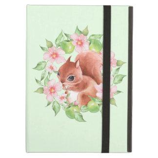 Capa Para iPad Air Esquilo e flores cor-de-rosa