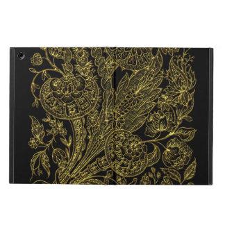 Capa Para iPad Air Estilo inlayed ouro floral