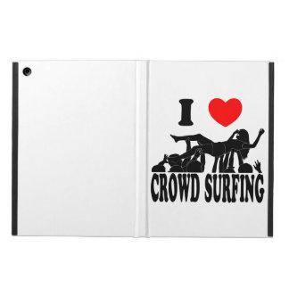 Capa Para iPad Air Eu amo a multidão que surfa (fêmea) (o preto)