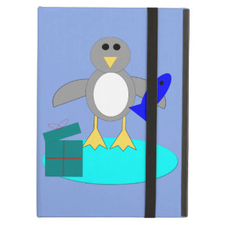 Capa Para iPad Air Feliz Natal que pesca o caso do iPad do pinguim