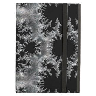Capa Para iPad Air Filigrana de prata delicado no abstrato preto do
