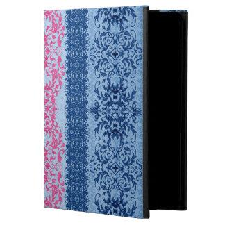 Capa Para iPad Air Flor de lis intrincada no rosa e no azul