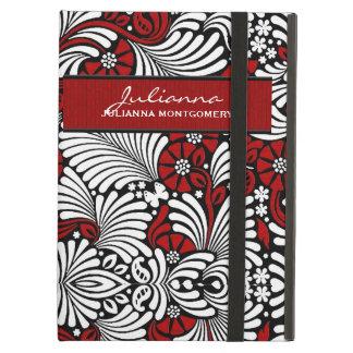 Capa Para iPad Air Flores vermelhas com as folhas brancas de Swirly