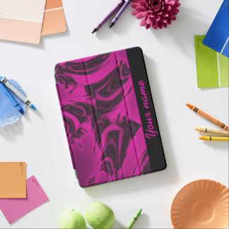 Capa Para iPad Air Fractal cor-de-rosa e preto