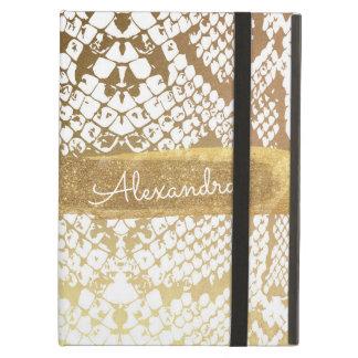 Capa Para iPad Air Impressão do ouro e do cobra do branco com brilho