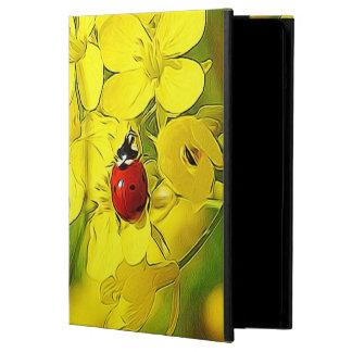 Capa Para iPad Air Joaninha amarelo do vermelho da boa sorte da flor