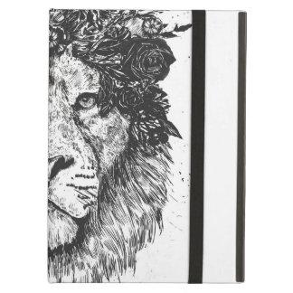 Capa Para iPad Air Leão floral (preto e branco)