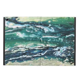 Capa Para iPad Air Linhas de pintura brancas do abstrato de turquesa