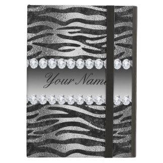 Capa Para iPad Air Listras pretas da zebra da folha do falso na prata
