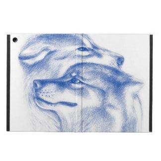Capa Para iPad Air Lobos alfa Snuggling azuis
