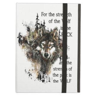 Capa Para iPad Air Logotipo selvagem da cabeça do lobo das citações